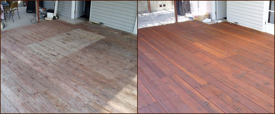 before and after deck pressure washing and stain removal