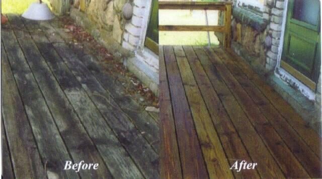 deck cleaning before and after