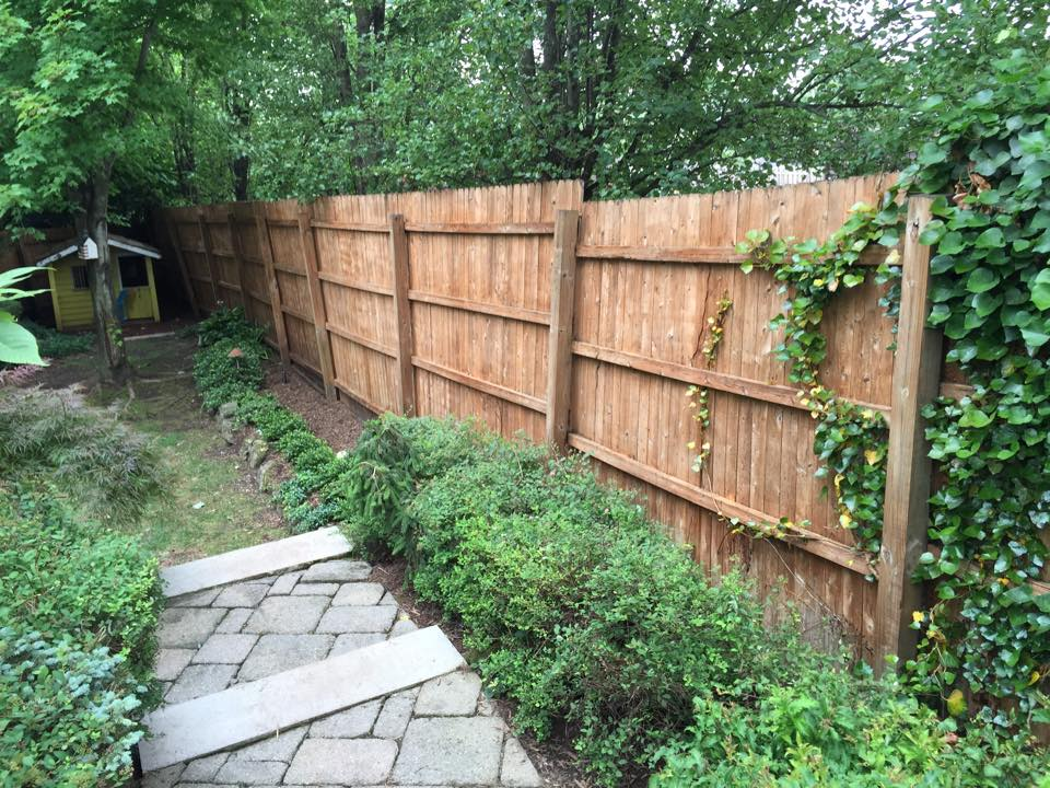 power wash and stain wood fence after